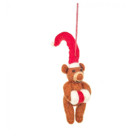 Handmade Felt Lil Santa Bear Hanging Christmas Decoration