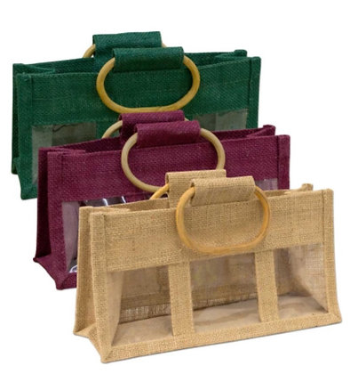 Jute 3 Window Gift Bag - Small