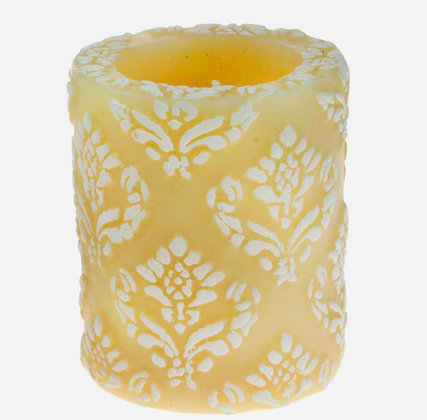 Candle Pineapple Damask Leaf white + ivory, 7.5cm recessed