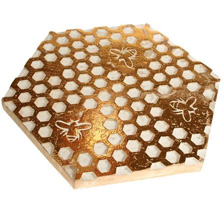 Trivet- Mango wood honeycomb