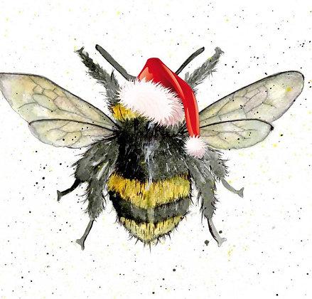 Xmas Bumble Bee Greeting Card by Sarah Boddy