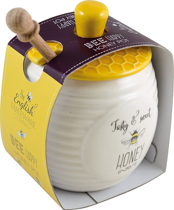 Bee Happy Honey Pot with Stick