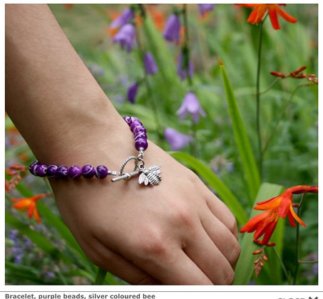 Bracelet, purple beads, silver coloured bee