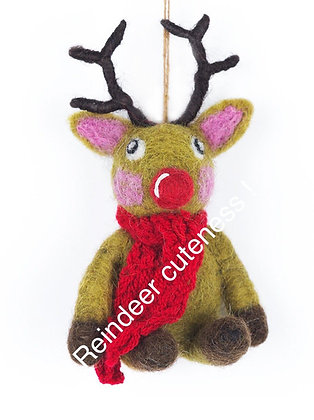 Christmas Reindeer with knitted Scarf Hanging Decoration