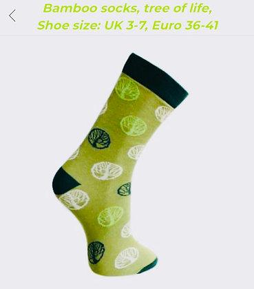 "Medium Bamboo socks, ""Tree of Life"", shoe size 3-7"