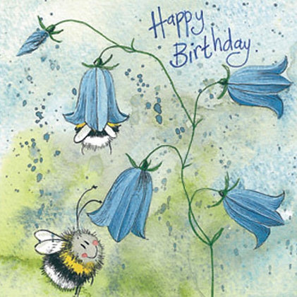 Bee & Harebell Birthday Card