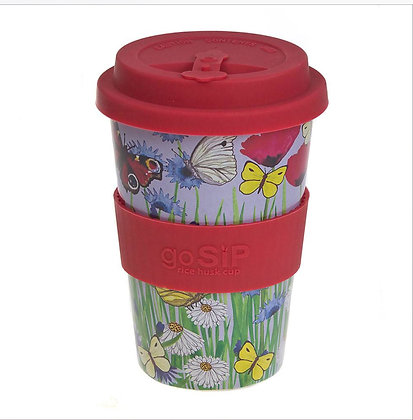 Rice husk cup 14oz, Butterflies & Flowers