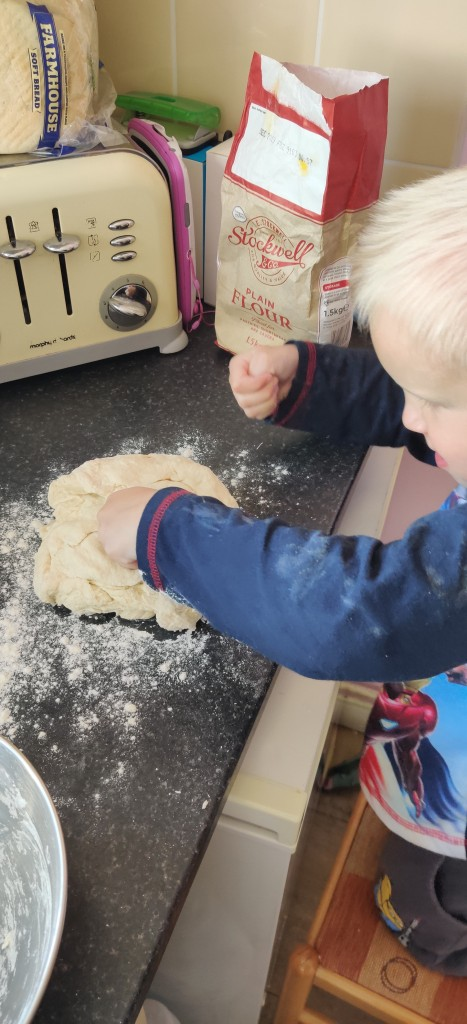 Leo making bread