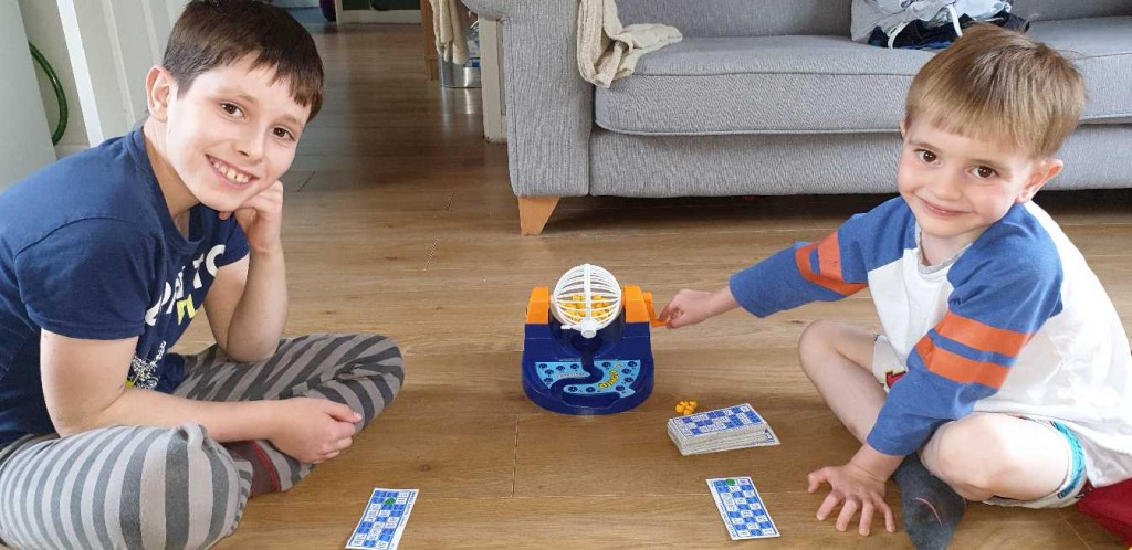 Oliver and Jacob playing bingo