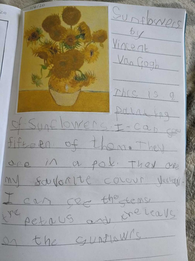 Ted's sunflower writing