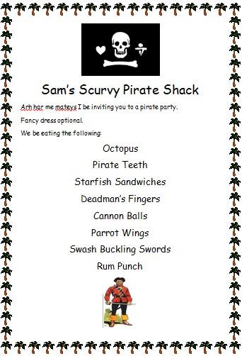 Sam's menu