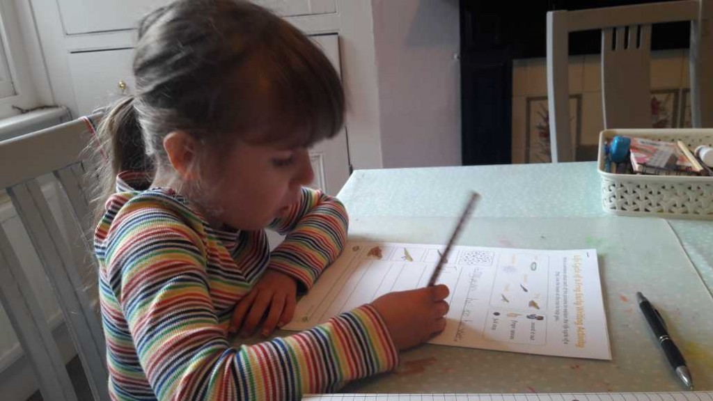 Isla's tadpole writing