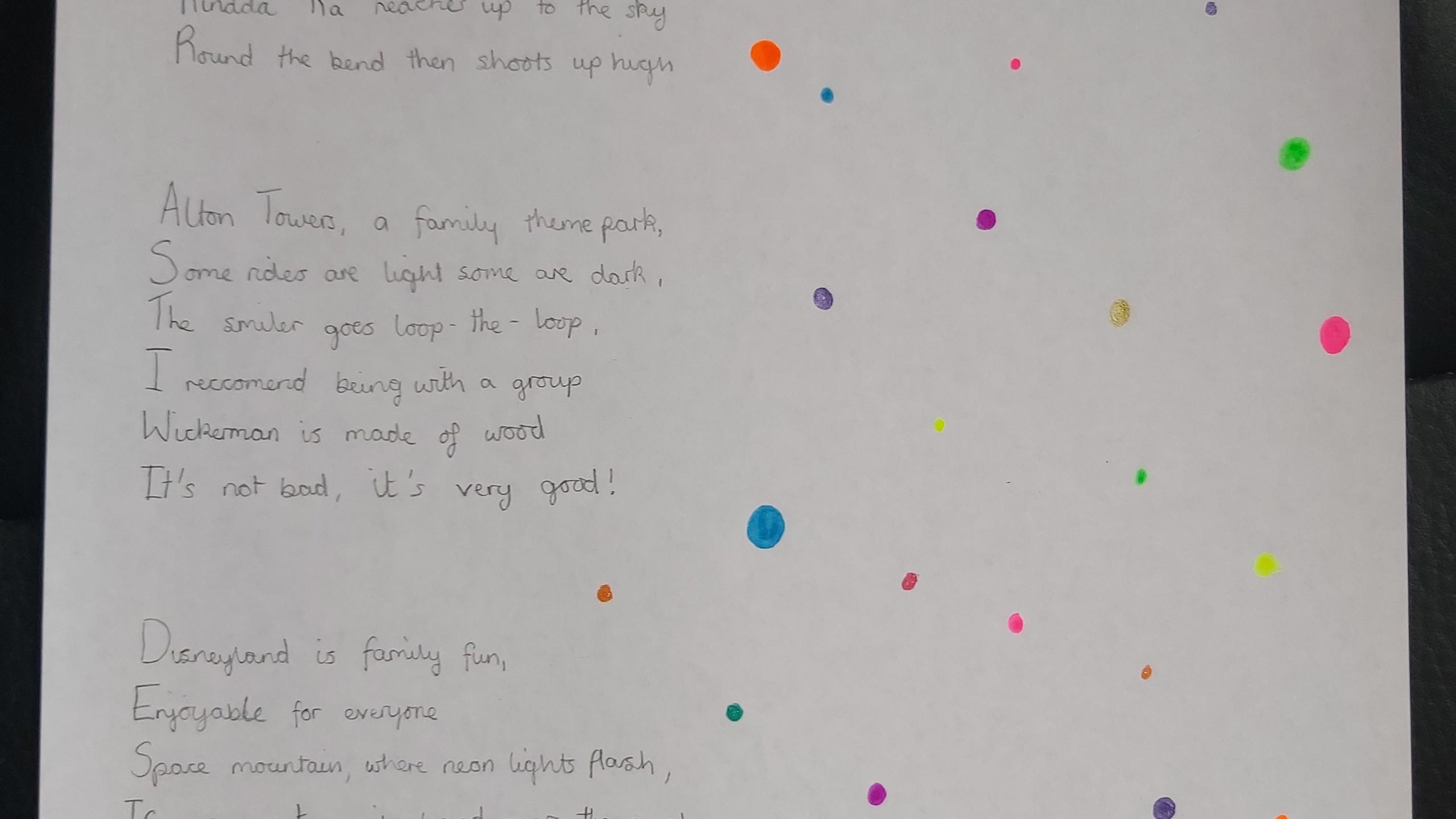 Maisey Roller Coaster Poem