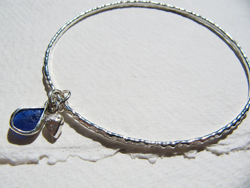 Sea Glass Heart Charm Bangle M/L