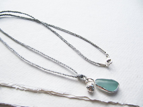 Long Seashore Charm Cord Necklace