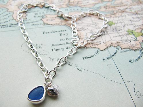 Rare bright blue Barafundle Heart bracelet