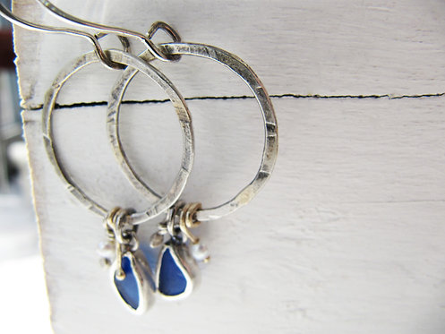 Antiqued Silver with Gold Hoops