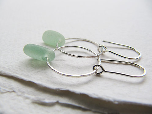 Minimal Light Sea Glass Earrings