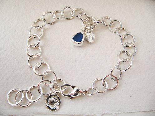 Eco Sea Glass Charm Bracelet