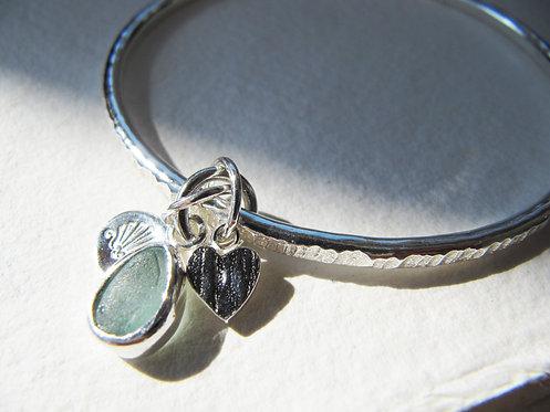 Eco Sea Glass Charm Bangle M