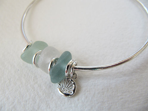 Eco Sea Glass Bead Bangle M