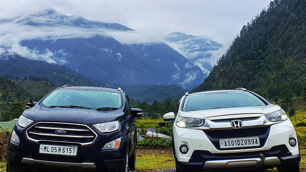 Image of a Ford Ecosport and a Honda WRV in Dong, Arunachal Pradesh