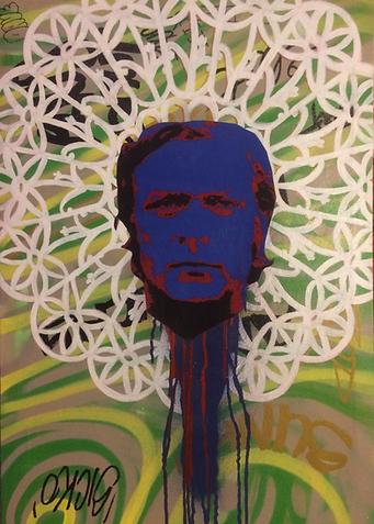 Beheaded Michael Cain. Mixed media on canvas.