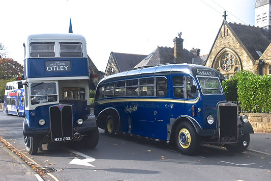 Samuel Ledgard MXX232 and KUP949 at Otley on 15th October 2017 for the 50th anniversary of the end of the Ledgard bus company. (Yorkshire Evening Post)