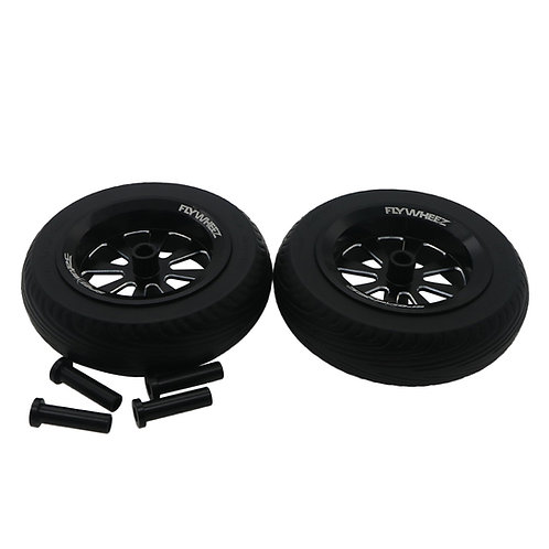 "FlyWheelz™ 4.5""-115mm Eight Spoke PU Wheels(pair) + 2pcs more tires(WRA-"