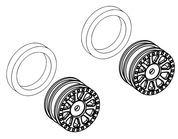 Wheels with Hub Counterweight Blocks (pr.), silver