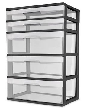 Sterilite 5 drawer wide towe, black
