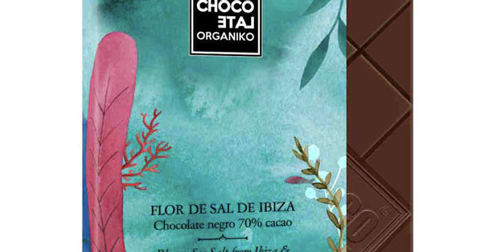 CHOCOLATE NEGRO 70% CON SAL DE IBIZA CHOCOLATE ORGANIKO 20 GR.