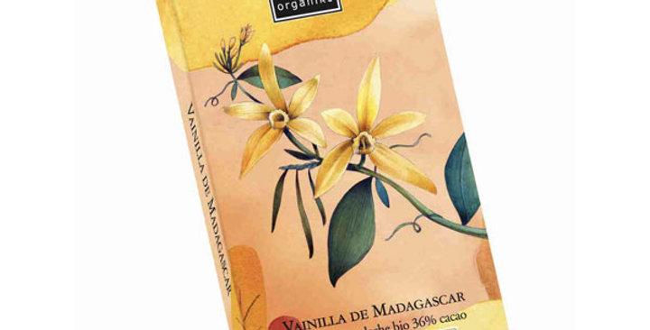 Chocolate con Leche 36% con Vainilla de Madagascar, Organiko 70 gr