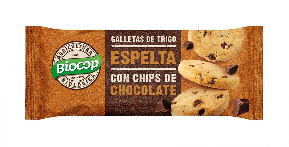 Galletas de Espelta con Chips de Chocolate,  Biocop 32 Gr