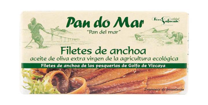 Anchoas en aceite de oliva virgen ecológico,  Pan Do Mar 50gr