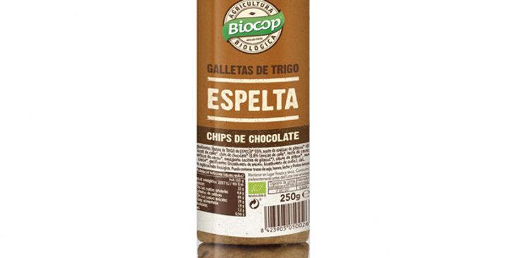 GALLETAS DE ESPELTA CON CHIPS DE CHOCOLATE BIOCOP 250 GR.