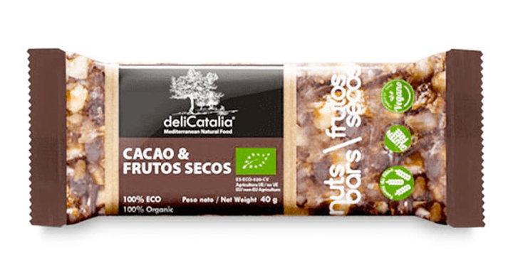 BARRITA DE CACAO Y FRUTOS SECOS DELICATALIA 40 GR.