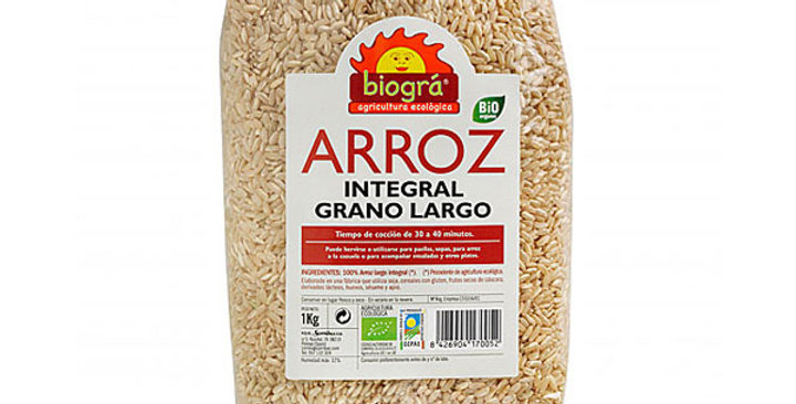 ARROZ INTEGRAL GRANO LARGO BIOGRA 1KG.