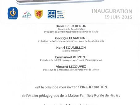 Inauguration de l'atelier pédagogique le 19 juin.