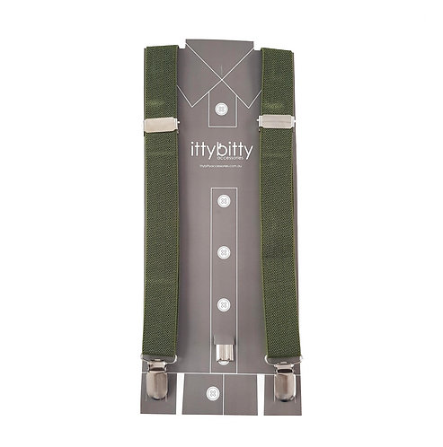 ARMY GREEN KIDS SUSPENDERS