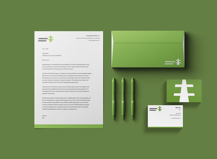 Emerging Energies Letterhead and Envelop