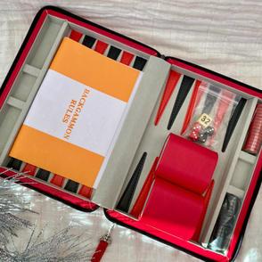 Leather Backgammon Travel Set $89