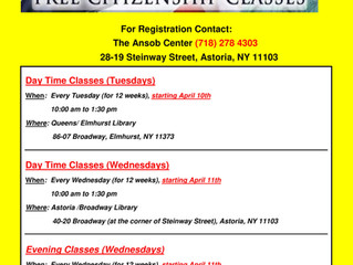 New Citizenship Classes Starting in April