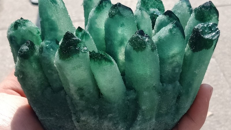 Natural Green Ghost Phantom Quartz Crystal Cluster Rock Stones