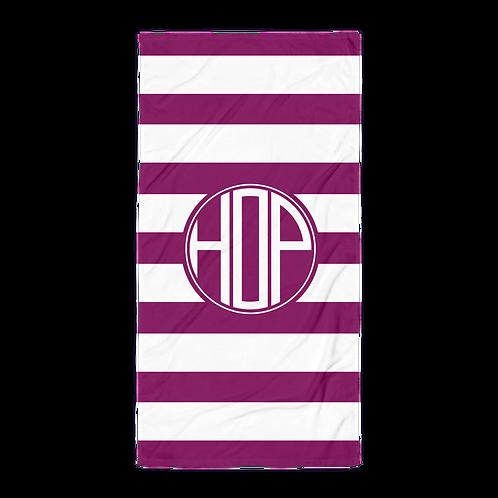 Violet White Striped Towel