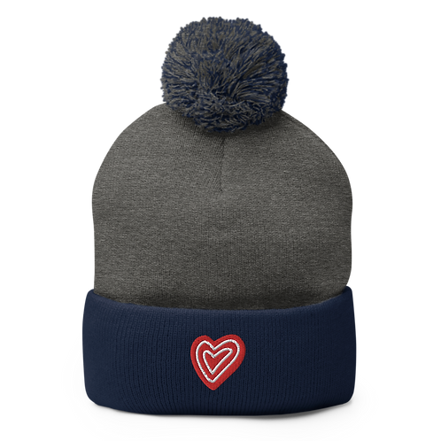 Two Colors Heart Embroidery Pom-Pom Beanie