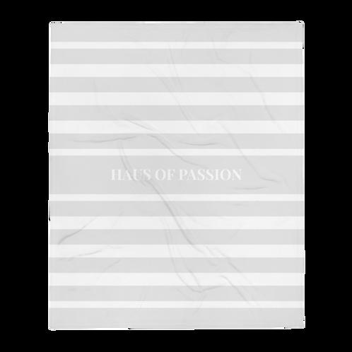 HOP Fluffy Blanket Light Grey/White Striped