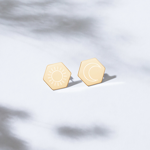 SOL E LUNA Sterling Silver Hexagon Stud Earrings
