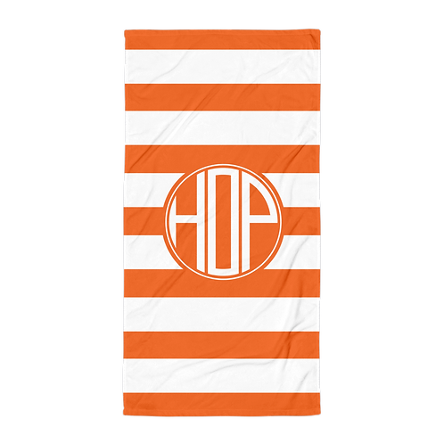 Orange White Striped Towel