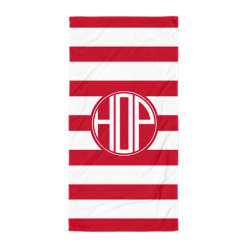 Red White Striped Towel
